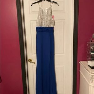 Blue, white & silver formal dress